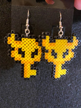 Load image into Gallery viewer, Legend of Zelda Master Key and Chest Inspired Mini Perler Artkal Bead Earrings, Geeky, Fun, Gaming