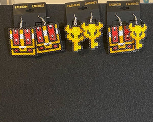 Legend of Zelda Master Key and Chest Inspired Mini Perler Artkal Bead Earrings, Geeky, Fun, Gaming