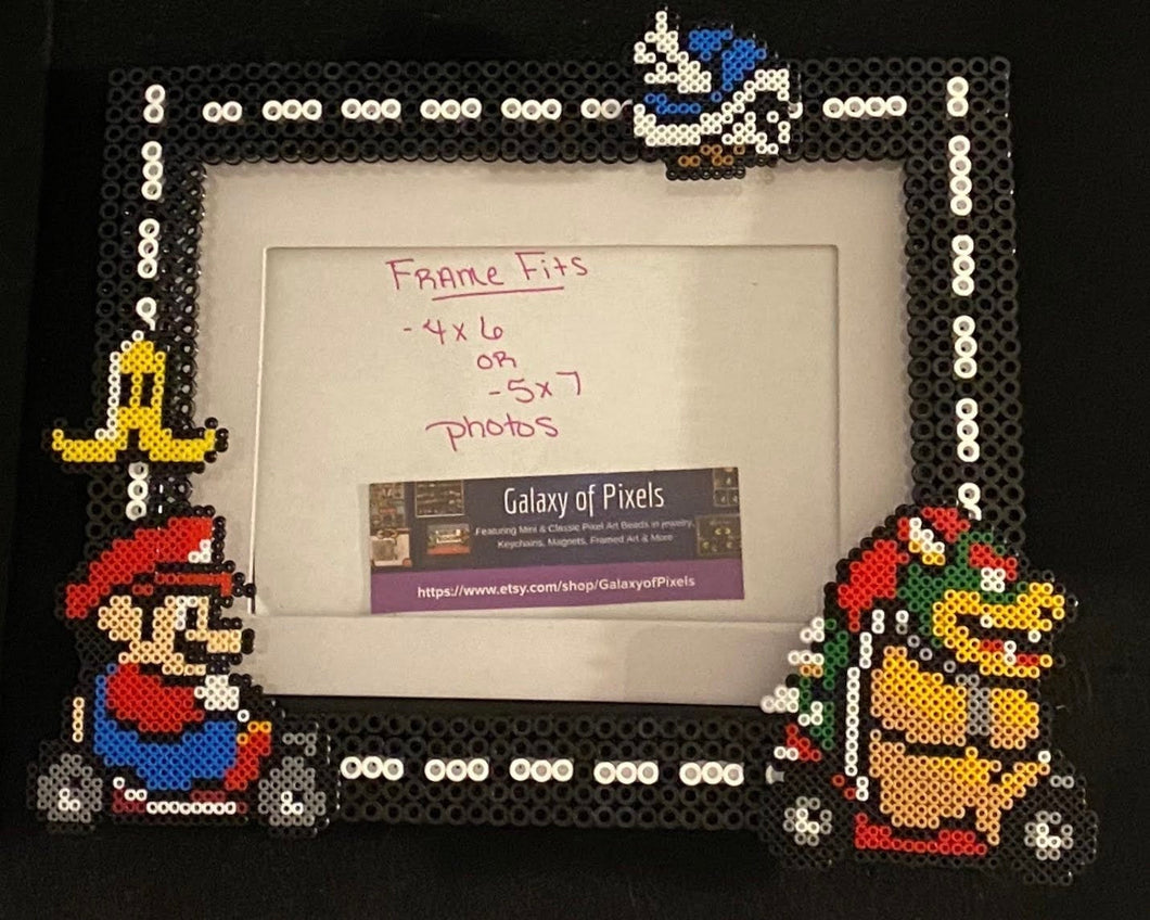 Mario Kart Perler Glass Picture Frame - Fits 4x6 or 5x7 Photos- Choose Horizontal or Vertical, Inspired, Geeky, Video Game Art