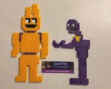 Load image into Gallery viewer, Purple Guy/ William Afton, Spring Bonnie, FNAF Inspired Beaded Sprites- Perler Wall Art, Game Room Art, Video Game, Pixel Horror