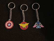 Load image into Gallery viewer, Wonder Woman, Captain America, Stitch Enamel Charm Keychains
