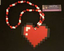 Load image into Gallery viewer, Heart Kandi Perler Necklace, Perler Jewelry, Artkal