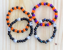 Load image into Gallery viewer, 4 Black Halloween Skeleton Kandi Bracelets, Halloween Party Favors, Rave, Festival Wear