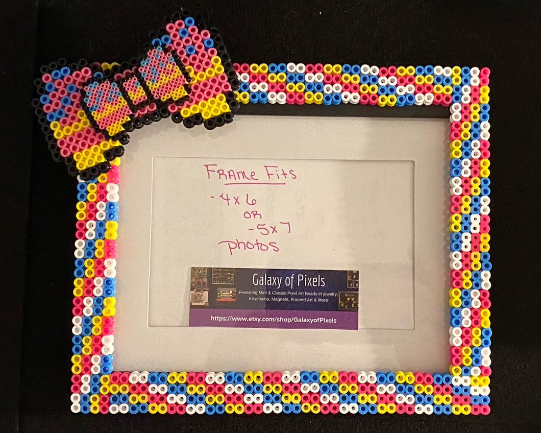 Personalized Rainbow with Bow Perler Glass Picture Frame - Fits 4x6 or 5x7 Photos- Choose Horizontal or Vertical
