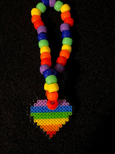 Rainbow Heart Kandi Bracelets with Matching Earrings, Perler Jewelry Artkal