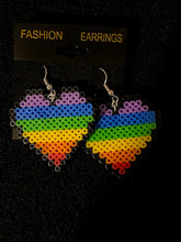 Load image into Gallery viewer, Rainbow Heart Kandi Bracelets with Matching Earrings, Perler Jewelry Artkal