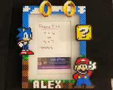 Load image into Gallery viewer, Personalized Mario Sonic Perler Glass Picture Frame -5x7 Photos- Choose Horizontal or Vertical, Inspired, Geeky, Video Game Art