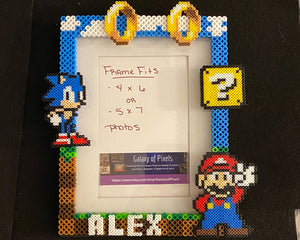Personalized Mario Sonic Perler Glass Picture Frame -5x7 Photos- Choose Horizontal or Vertical, Inspired, Geeky, Video Game Art