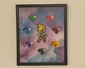 Glass Framed Super Sonic & 7 Chaos Emeralds Mini Beads, Kids Room, Game Room, Classroom Decor- Video Game Art, Geeky decorations, Perler Art