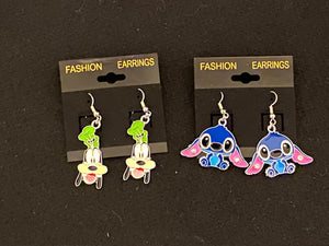 Stitch alien  or Goofy Enamel Charm Dangle Earrings