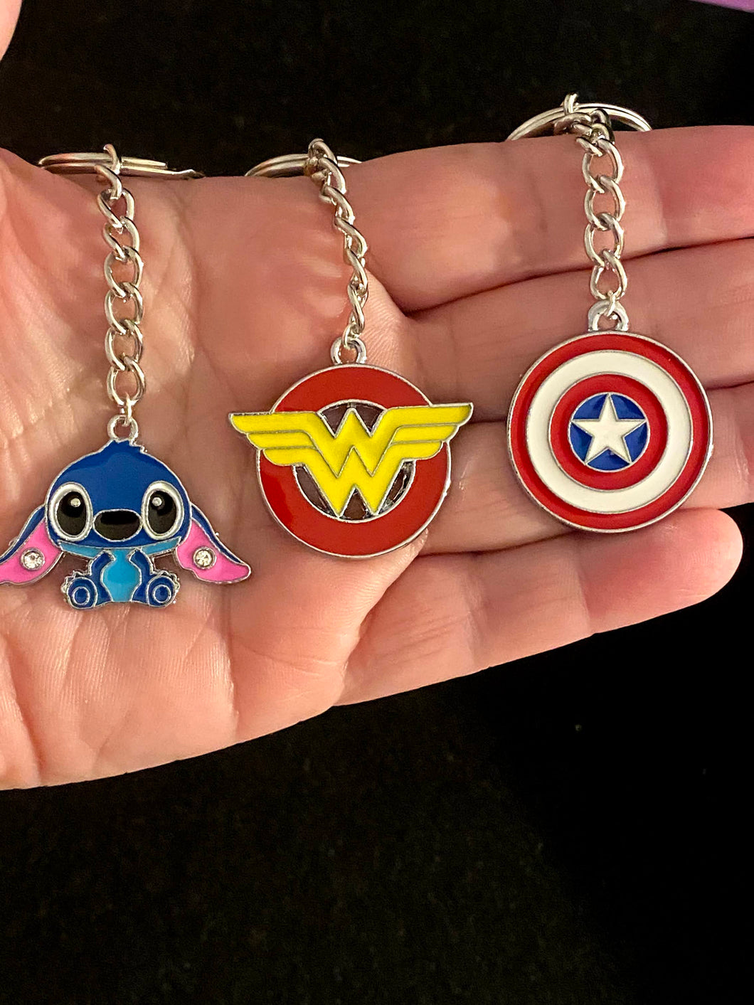 Wonder Woman, Captain America, Stitch Enamel Charm Keychains