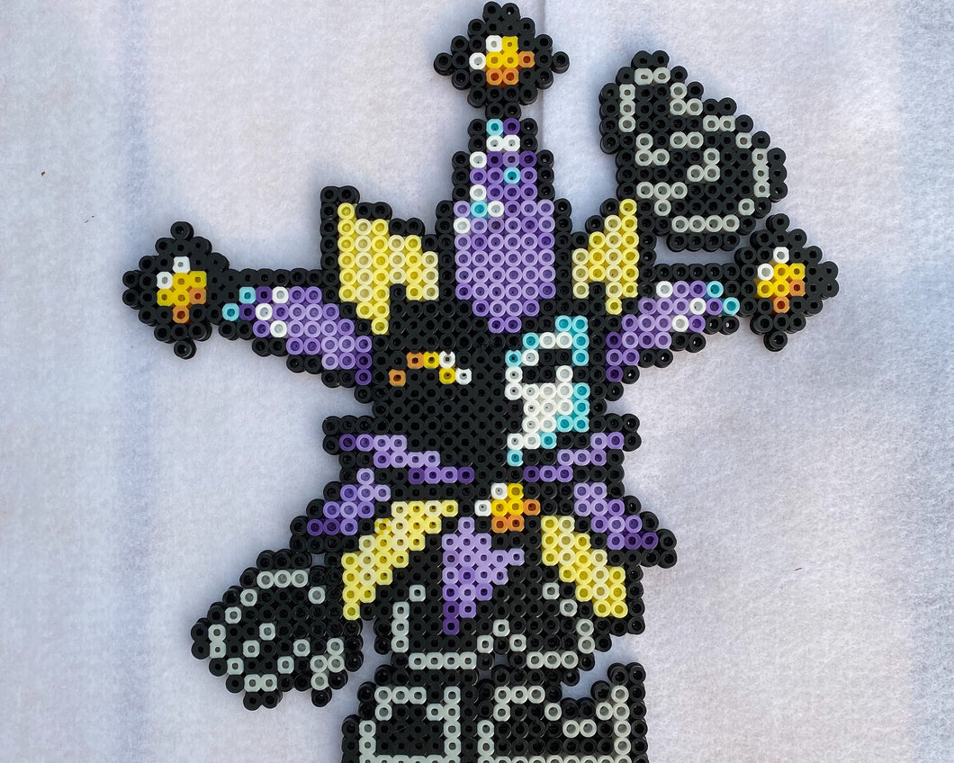 Dimentio Inspired Beaded Sprites- Wall Hangings, Kids Bedroom, Game Room, Video Game Art, Perler Art, Pixel Sprite
