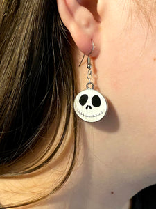 Halloween Jack Skeleton Enamel Charm Dangle Earrings
