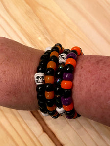 4 Black Halloween Skeleton Kandi Bracelets, Halloween Party Favors, Rave, Festival Wear