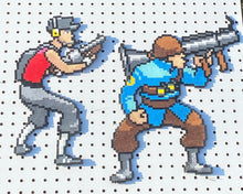 Load image into Gallery viewer, Scout and Soldier Inspired TF2 Perler Bead Sprites, - Wall Hangings, Magnets, Game Room, Perler Bead Art, PC Gaming, Video Games, Gamer Gift