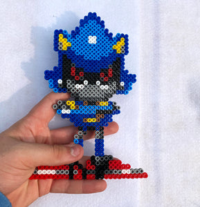 Metal Sonic Inspired Beaded Sprites- Wall Hangings, Kids Bedroom, Game Room, Video Game Art, Perler Art, Pixel Sprite