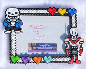 Undertale Inspired Fanart- Perler Glass Picture Frame - Fits 4x6 or 5x7 Photos- Choose Horizontal or Vertical, Geeky, Video Game Art