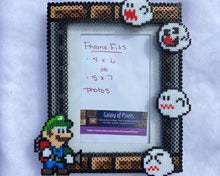 Load image into Gallery viewer, Luigi Perler Inspired Fanart- Perler Glass Picture Frame - Fits 4x6 or 5x7 Photos- Choose Horizontal or Vertical, Geeky, Video Game Art