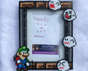 Luigi Perler Inspired Fanart- Perler Glass Picture Frame - Fits 4x6 or 5x7 Photos- Choose Horizontal or Vertical, Geeky, Video Game Art