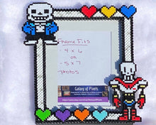 Load image into Gallery viewer, Undertale Inspired Fanart- Perler Glass Picture Frame - Fits 4x6 or 5x7 Photos- Choose Horizontal or Vertical, Geeky, Video Game Art