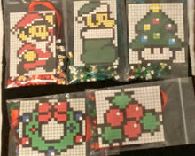 Load image into Gallery viewer, DIY Perler Bead Christmas Ornament Craft Kits, Mario, Trees, Wreaths, Kids Craft