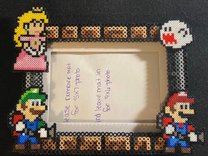 Ghost Hunting Luigi, Mario, Peach Perler Inspired Fanart- Perler Glass Picture Frame - Fits 4x6 or 5x7 Photos- Choose Horizontal or Vertical