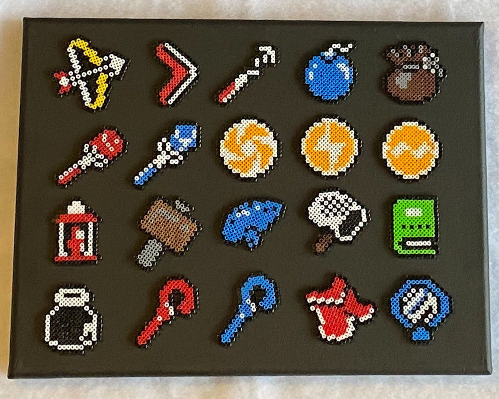 Canvas Legend of Zelda Artwork- Link to the Past Item Screen Mini Beads- Perfect for Kids Room, Game Room or Classroom Decor, Video Game Art