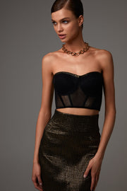 High Waisted Midi Skirt in Bronze