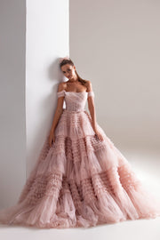 Off-The-Shoulder Frill-Layered Gown