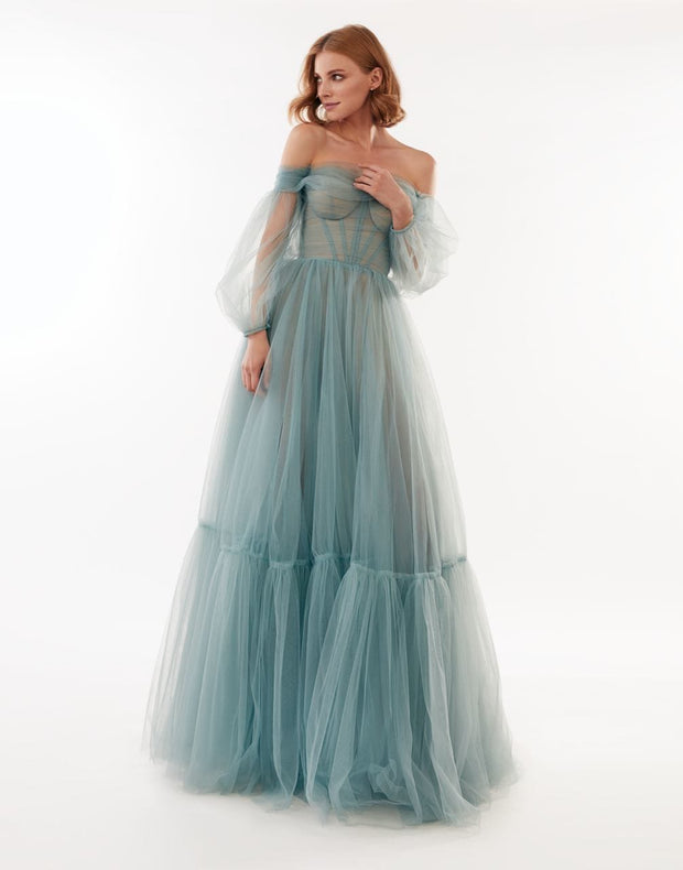 Combination Evening Dress with Sheer Sleeves