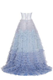 Strapless Light Blue Frill-Layered Gown