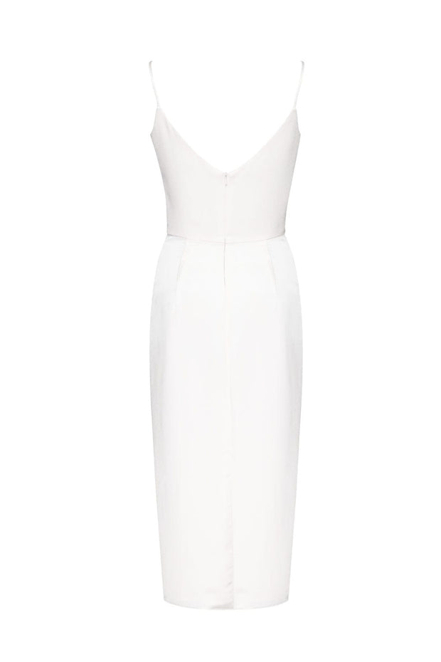 Ivory Slip Midi Dress with Open Back