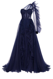 One-Shoulder Tulle Navy Gown with Ruffled Skirt