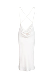 Midi Slip Dress with Criss-cross Open Back