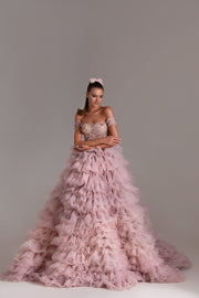 Rose Off-the-shoulder Gown with Floral Sequins and Tulle Skirt