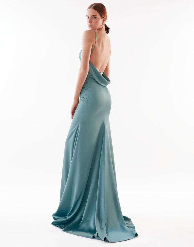 Monk Neck Sleeveless Evening Dress with Open Back