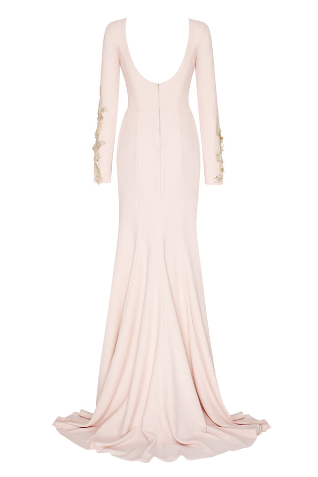 Long-Sleeved Trumpet Evening Gown