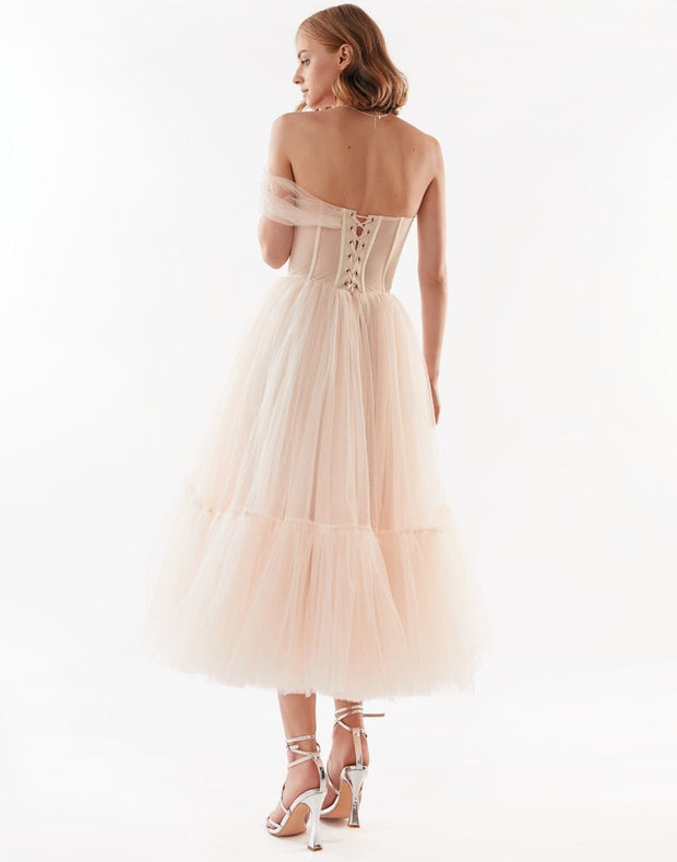 One-Shoulder Peach Cocktail Dress