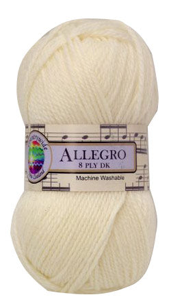 Ball of Allegro 8 ply yarn with label on.