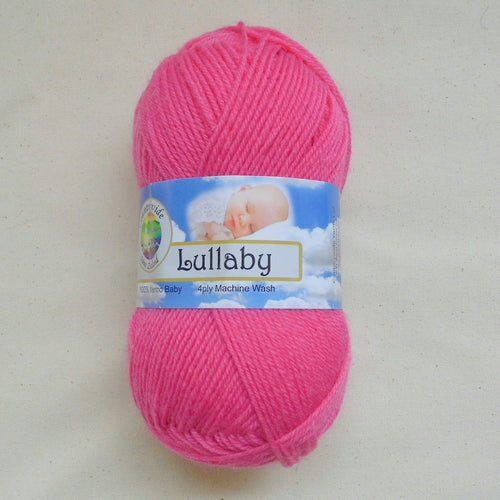 Ball of Lullaby 4 ply yarn with label on in the colour Bright Pink