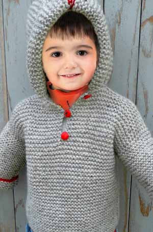 Child Garter Stitch Hooded Jacket | Design P191
