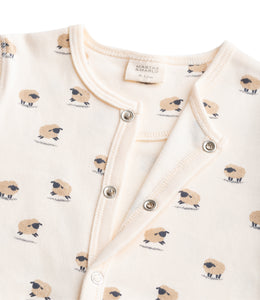 Martha & Marlo Baby One Piece Bodysuit Organic Cotton Sheep Print Cream