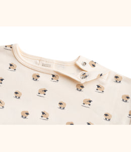 Martha & Marlo Baby Long Sleeve T-Shirt Organic Cotton Sheep Print Cream