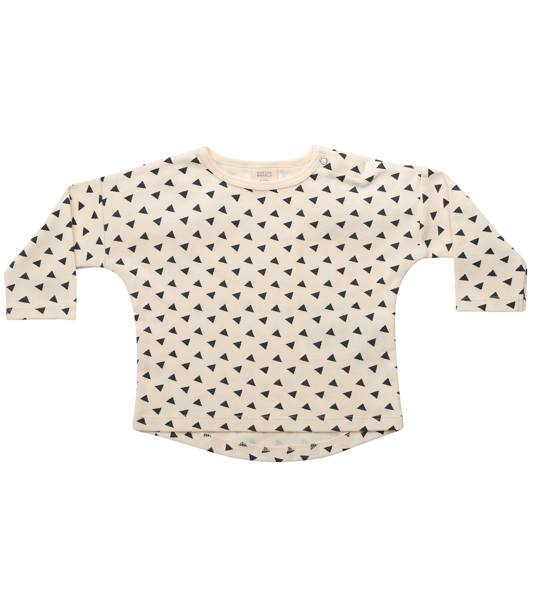 Martha & Marlo Baby Long Sleeve T-Shirt Organic Cotton Sketch Print Cream