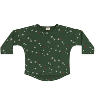 Load image into Gallery viewer, Martha & Marlo Kids Long Sleeve T-Shirt Organic Cotton Green Snowflake