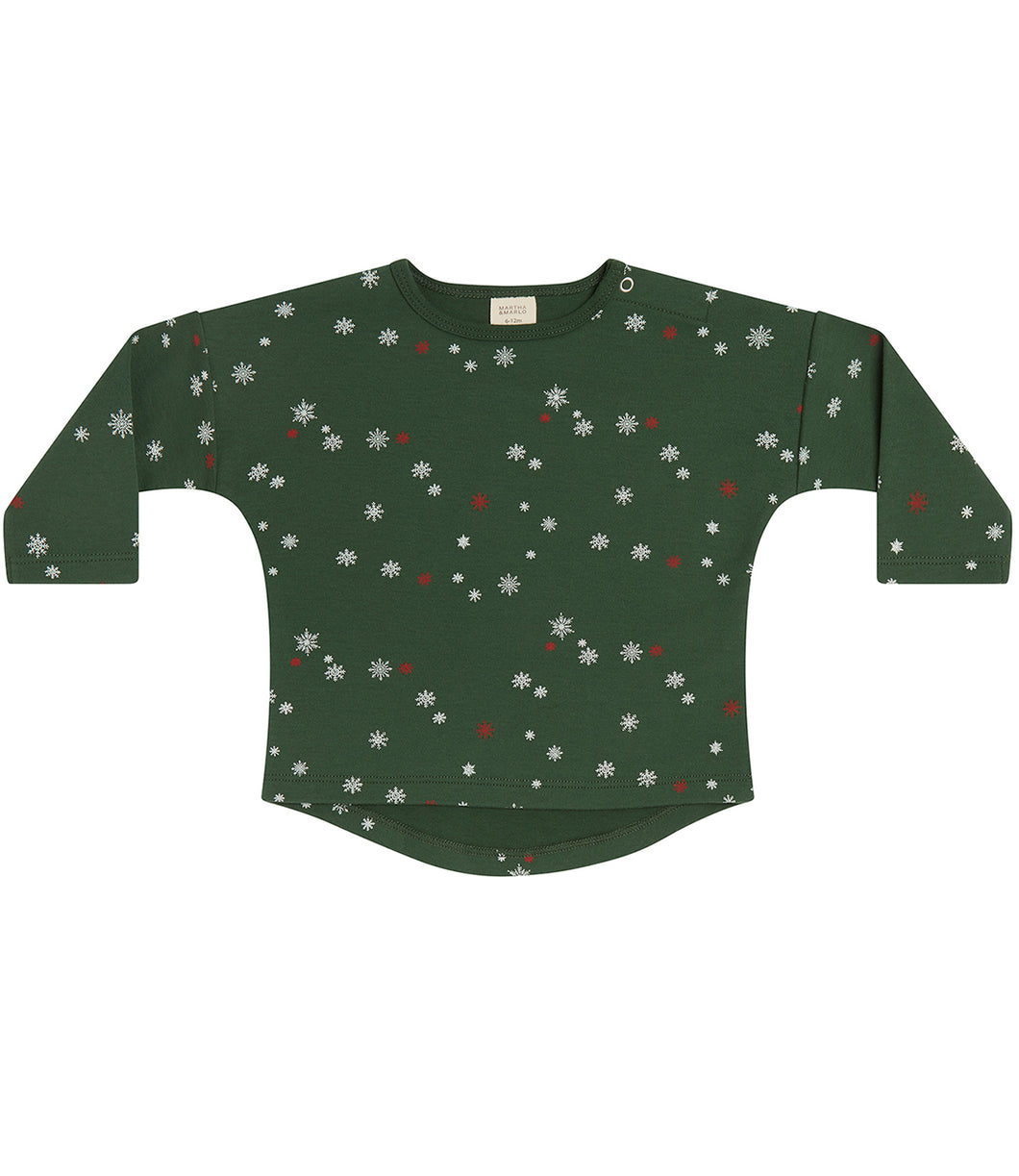 Martha & Marlo Kids Long Sleeve T-Shirt Organic Cotton Green Snowflake