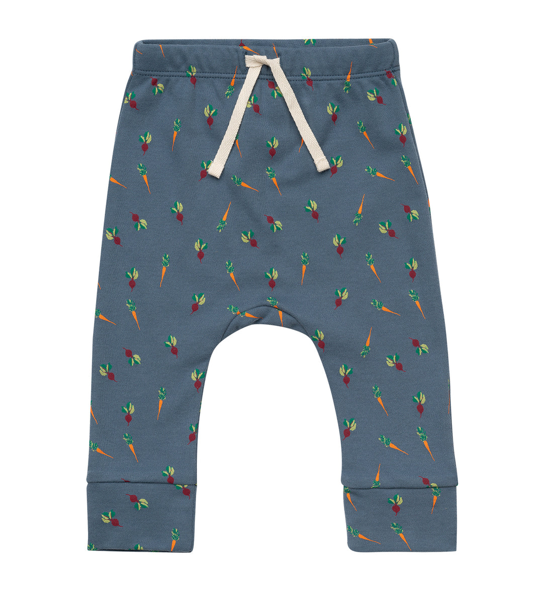 Martha & Marlo Kids Drawstring Pant Organic Cotton Veggie Print Blue