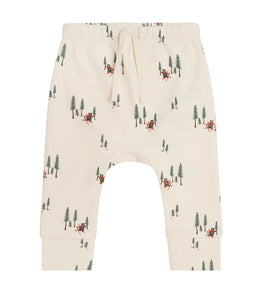 Martha & Marlo Baby Drawstring Pant Organic Cotton Cream Bear Print
