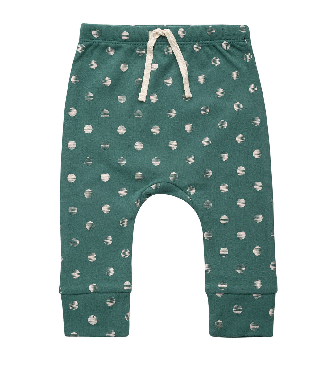 Martha & Marlo Kids Drawstring Pant Organic Cotton Spot Print Green