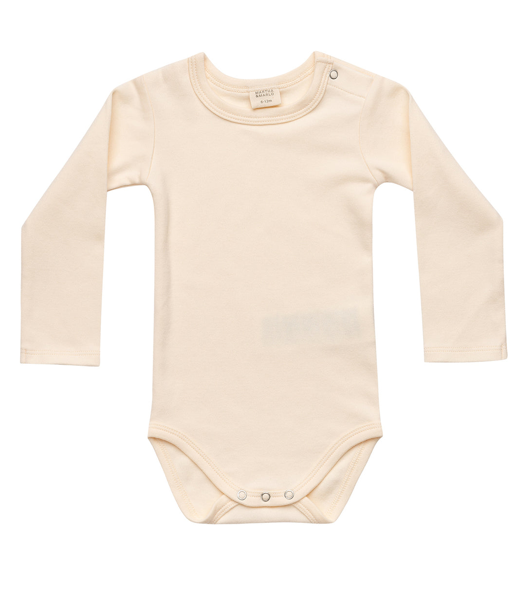 Martha & Marlo Baby Long Sleeve Bodysuit Cream